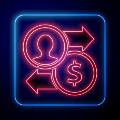 Glowing neon Job promotion exchange money icon isolated on blue background. Success, achievement, motivation business symbol, growth. Vector Illustration