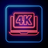 Glowing neon Laptop screen with 4k video technology icon isolated on blue background. Vector Illustration