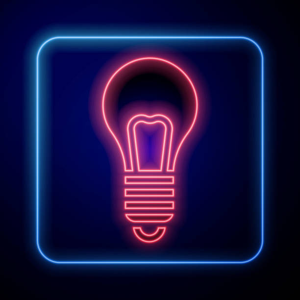 Glowing neon Light bulb with concept of idea icon isolated on blue background. Energy and idea symbol. Inspiration concept. Vector Illustration Glowing neon Light bulb with concept of idea icon isolated on blue background. Energy and idea symbol. Inspiration concept. Vector Illustration blue clipart stock illustrations
