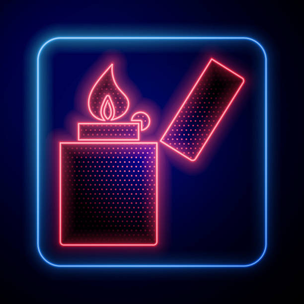 Glowing neon Lighter icon isolated on blue background. Vector Illustration Glowing neon Lighter icon isolated on blue background. Vector Illustration hot pockets stock illustrations