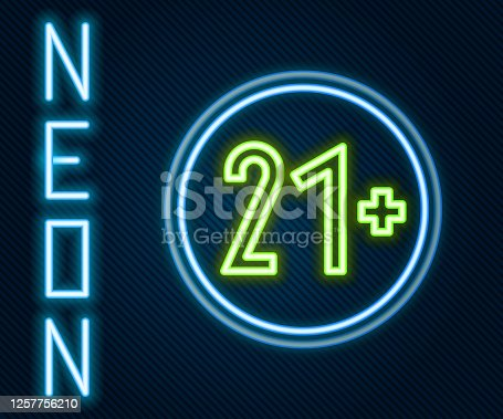 istock Glowing neon line 21 plus icon isolated on black background. Adults content icon. Colorful outline concept. Vector Illustration 1257756210