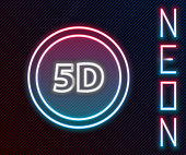 istock Glowing neon line 5d virtual reality icon isolated on black background. Large three-dimensional logo. Colorful outline concept. Vector Illustration 1253308658