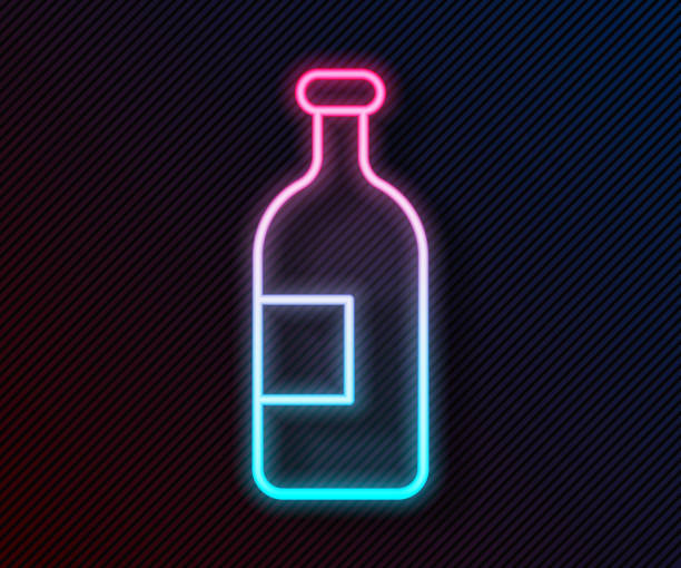 Glowing neon line Alcohol drink bottle icon isolated on black background. Vector Illustration Glowing neon line Alcohol drink bottle icon isolated on black background. Vector Illustration alcohol drink clipart stock illustrations