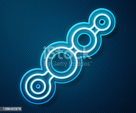 istock Glowing neon line Anal beads icon isolated on blue background. Anal balls sign. Fetish accessory. Sex toy for men and woman. Vector Illustration 1266452976