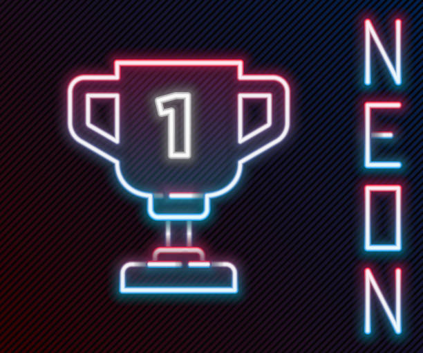 Glowing neon line Award cup icon isolated on black background. Winner trophy symbol. Championship or competition trophy. Sports achievement sign. Colorful outline concept. Vector Glowing neon line Award cup icon isolated on black background. Winner trophy symbol. Championship or competition trophy. Sports achievement sign. Colorful outline concept. Vector. blue clipart stock illustrations