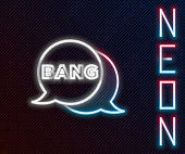 istock Glowing neon line Bang boom, gun Comic text speech bubble balloon icon isolated on black background. Colorful outline concept. Vector 1272475938