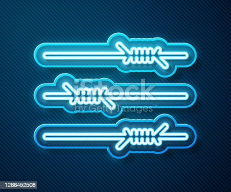 istock Glowing neon line Barbed wire icon isolated on blue background. Vector Illustration 1266452508