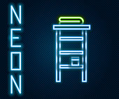 Glowing neon line Bathroom rack with shelves for towels icon isolated on black background. Furniture object for bath room interior. Colorful outline concept. Vector Illustration