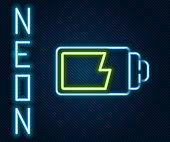 Glowing neon line Battery charge level indicator icon isolated on black background. Colorful outline concept. Vector Illustration