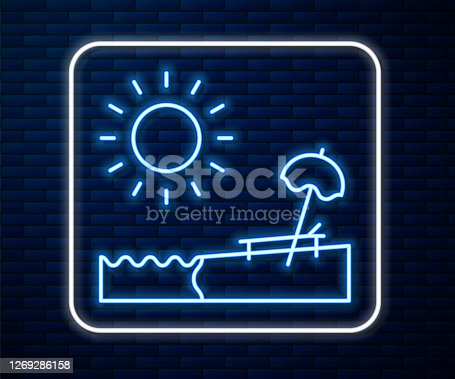 Glowing neon line Beach with umbrella and chair icon isolated on brick wall background. Tropical beach landscape. Good sunny day. Vector Illustration