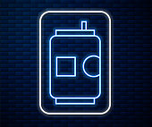Glowing neon line Beer can icon isolated on brick wall background. Vector Illustration