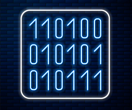 Glowing neon line Binary code icon isolated on brick wall background. Vector Illustration