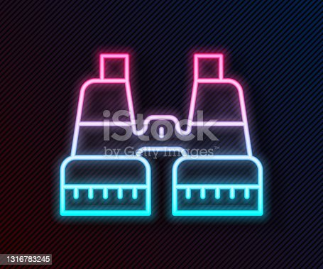 istock Glowing neon line Binoculars icon isolated on black background. Find software sign. Spy equipment symbol. Vector 1316783245