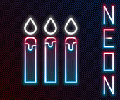 Glowing neon line Birthday cake candles icon isolated on black background. Colorful outline concept. Vector Illustration