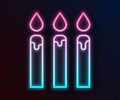 Glowing neon line Birthday cake candles icon isolated on black background. Vector Illustration