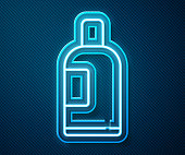 Glowing neon line Bottle of shampoo icon isolated on blue background. Vector Illustration