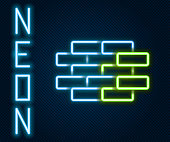 Glowing neon line Bricks icon isolated on black background. Colorful outline concept. Vector Illustration