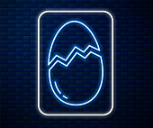 Glowing neon line Broken egg icon isolated on brick wall background. Happy Easter. Vector Illustration