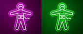 istock Glowing neon line Bungee jumping icon isolated on purple and green background. Vector Illustration 1263013089