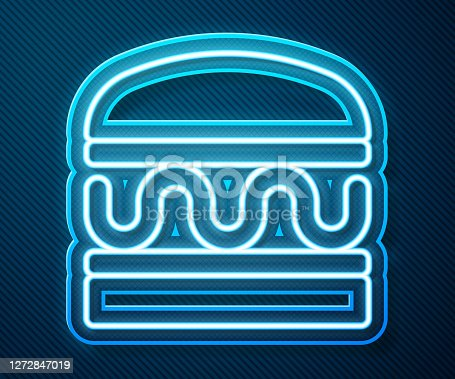 Glowing neon line Burger icon isolated on blue background. Hamburger icon. Cheeseburger sandwich sign. Fast food menu. Vector.