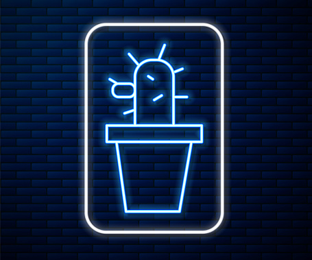Glowing neon line Cactus and succulent in pot icon isolated on brick wall background. Plant growing in a pot. Potted plant sign. Vector Illustration