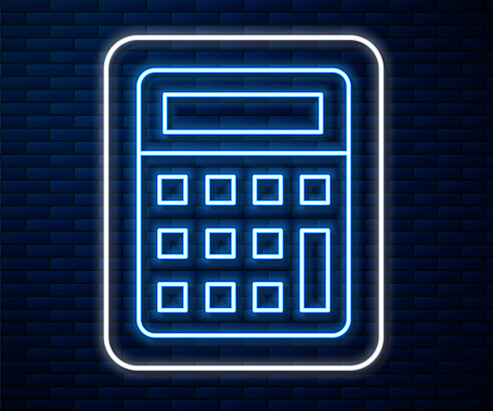 Glowing neon line Calculator icon isolated on brick wall background. Accounting symbol. Business calculations mathematics education and finance. Vector Illustration