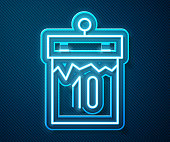 Glowing neon line Calendar icon isolated on blue background. Event reminder symbol. Vector Illustration