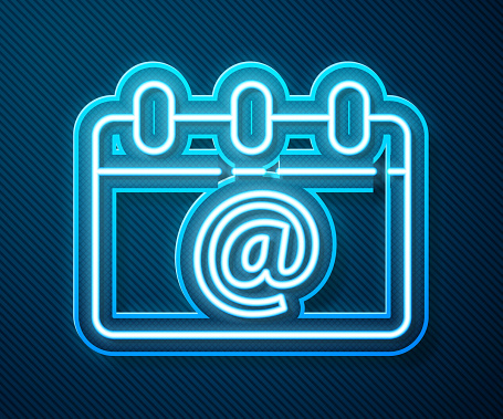 Glowing neon line Calendar with email icon isolated on blue background. Envelope symbol e-mail. Email message sign. Vector Illustration
