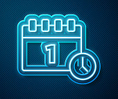 Glowing neon line Calendar with first september date icon isolated on blue background. September 1. Date and time, day, month. Holiday. Vector.