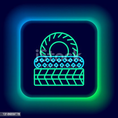 istock Glowing neon line Car tire icon isolated on black background. Colorful outline concept. Vector 1318659778