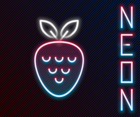 Glowing neon line Casino slot machine with strawberry symbol icon isolated on black background. Gambling games. Colorful outline concept. Vector Illustration