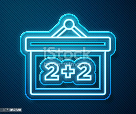 istock Glowing neon line Chalkboard icon isolated on blue background. School Blackboard sign. Vector 1271987688