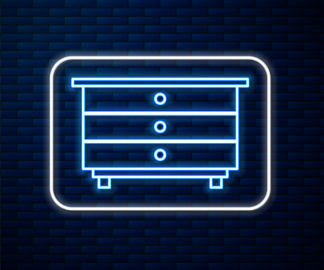 Glowing neon line Chest of drawers icon isolated on brick wall background. Vector Illustration