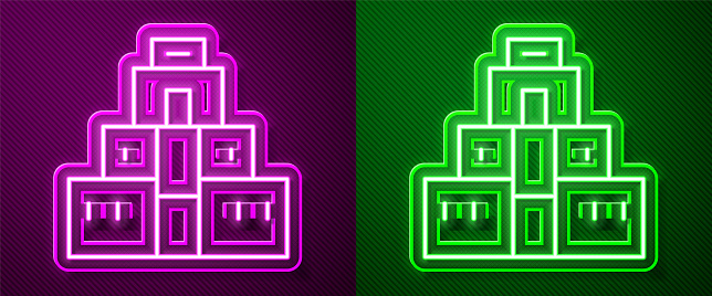 Glowing neon line Chichen Itza in Mayan icon isolated on purple and green background. Ancient Mayan pyramid. Famous monument of Mexico. Vector