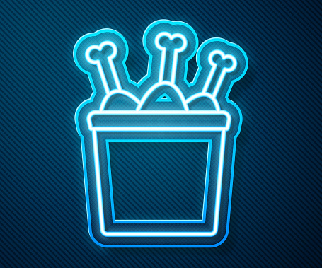 Glowing neon line Chicken leg in package box icon isolated on blue background. Chicken drumstick. Vector Illustration