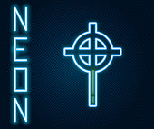 Glowing neon line Christian cross icon isolated on black background. Church cross. Colorful outline concept. Vector Illustration