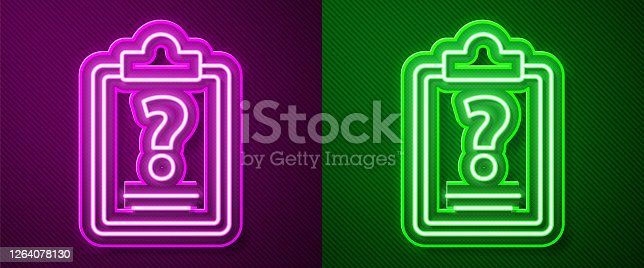 istock Glowing neon line Clipboard with question marks icon isolated on purple and green background. Survey, quiz, investigation, customer support questions concepts. Vector Illustration 1264078130