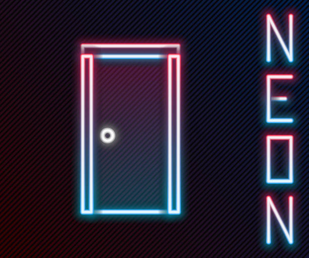 Glowing neon line Closed door icon isolated on black background. Colorful outline concept. Vector Illustration Glowing neon line Closed door icon isolated on black background. Colorful outline concept. Vector Illustration architecture clipart stock illustrations