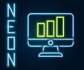 Glowing neon line Computer monitor with graph chart icon isolated on black background. Report text file. Accounting sign. Audit, analysis, planning. Colorful outline concept. Vector Illustration