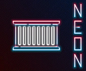 Glowing neon line Container icon isolated on black background. Crane lifts a container with cargo. Colorful outline concept. Vector Illustration