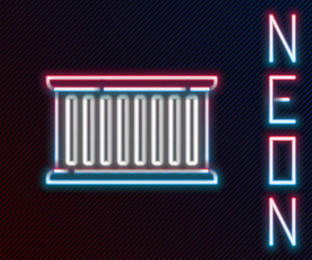 Glowing neon line Container icon isolated on black background. Crane lifts a container with cargo. Colorful outline concept. Vector Illustration Glowing neon line Container icon isolated on black background. Crane lifts a container with cargo. Colorful outline concept. Vector Illustration hooikoorts stock illustrations