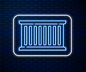 Glowing neon line Container icon isolated on brick wall background. Crane lifts a container with cargo. Vector Illustration