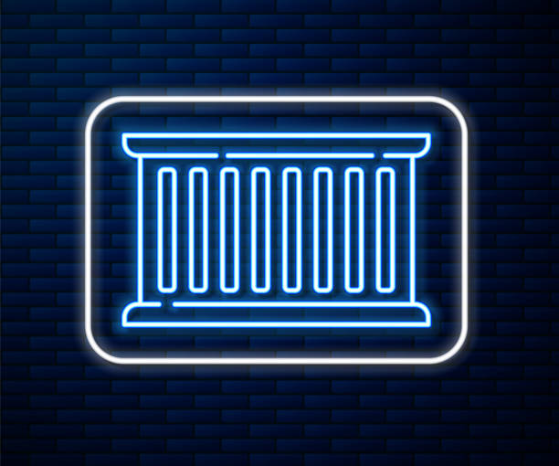 Glowing neon line Container icon isolated on brick wall background. Crane lifts a container with cargo. Vector Illustration Glowing neon line Container icon isolated on brick wall background. Crane lifts a container with cargo. Vector Illustration hooikoorts stock illustrations