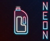 Glowing neon line Container with drain cleaner icon isolated on black background. Detergent in plastic bottle. Colorful outline concept. Vector Illustration