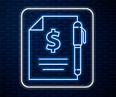 Glowing neon line Contract money and pen icon isolated on brick wall background. Banking document dollar file finance money page. Vector Illustration