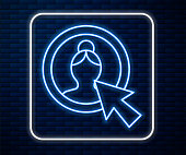 Glowing neon line Create account screen icon isolated on brick wall background. Vector Illustration