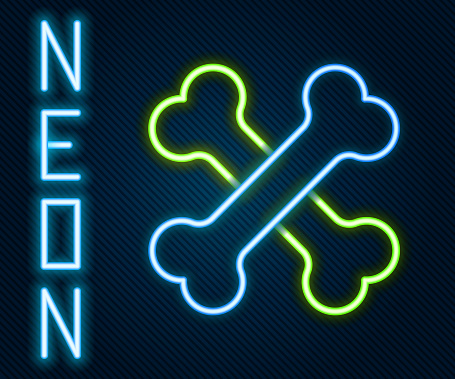 Glowing neon line Crossed human bones icon isolated on black background. Colorful outline concept. Vector