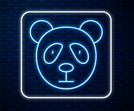 Glowing neon line Cute panda face icon isolated on brick wall background. Animal symbol. Vector