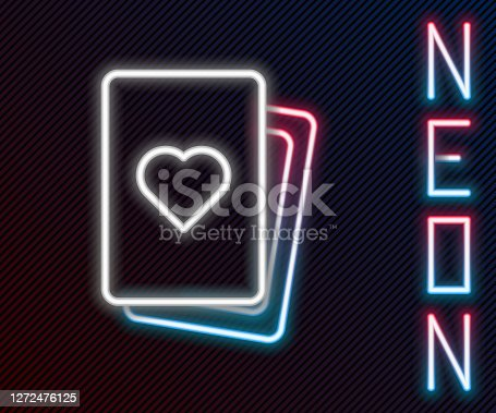 istock Glowing neon line Deck of playing cards icon isolated on black background. Casino gambling. Colorful outline concept. Vector 1272476125