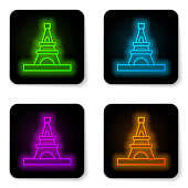Glowing neon line Eiffel tower icon isolated on white background. France Paris landmark symbol. Black square button. Vector.